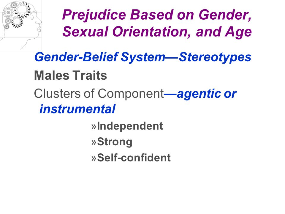 Prejudice Based on Gender, Sexual Orientation, and Age Gender-Belief System—Stereotypes Males Traits Clusters of Component—agentic or instrumental »In