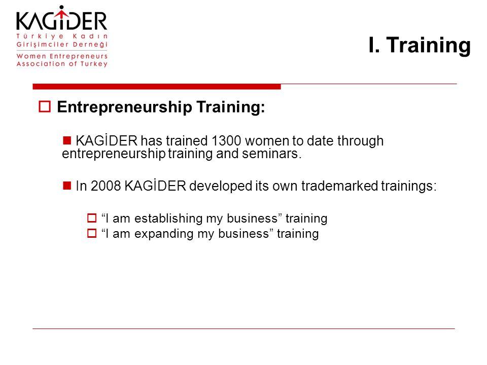 I. Training  Entrepreneurship Training: KAGİDER has trained 1300 women to date through entrepreneurship training and seminars. In 2008 KAGİDER develo