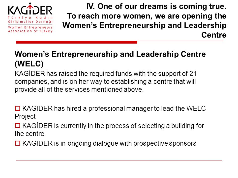 Women's Entrepreneurship and Leadership Centre (WELC) KAGİDER has raised the required funds with the support of 21 companies, and is on her way to est
