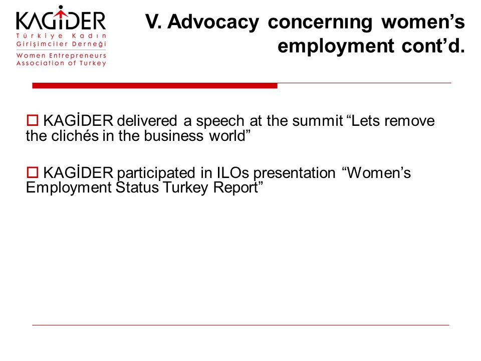V. Advocacy concernıng women's employment cont'd.