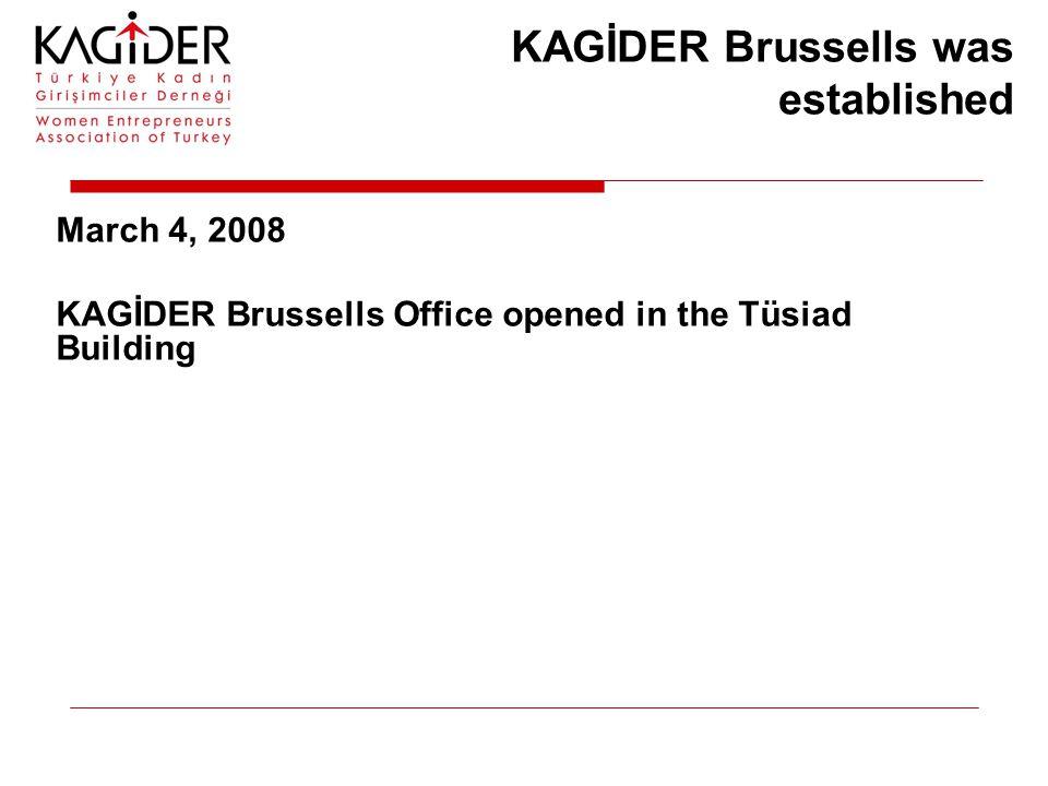 March 4, 2008 KAGİDER Brussells Office opened in the Tüsiad Building KAGİDER Brussells was established
