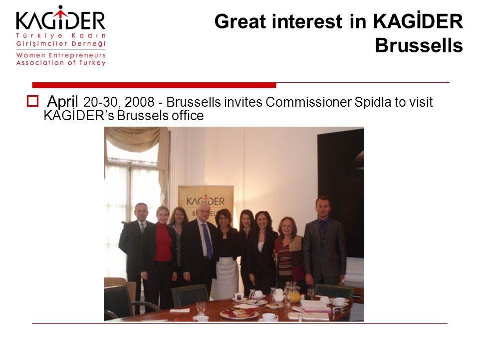 Great interest in KAGİDER Brussells  April 20-30, 2008 - Brussells invites Commissioner Spidla to visit KAGİDER's Brussels office