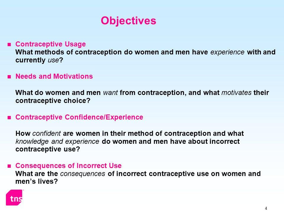 4 Objectives Contraceptive Usage What methods of contraception do women and men have experience with and currently use.