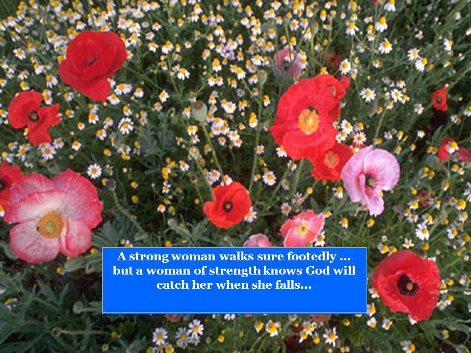 A strong woman walks sure footedly... but a woman of strength knows God will catch her when she falls...