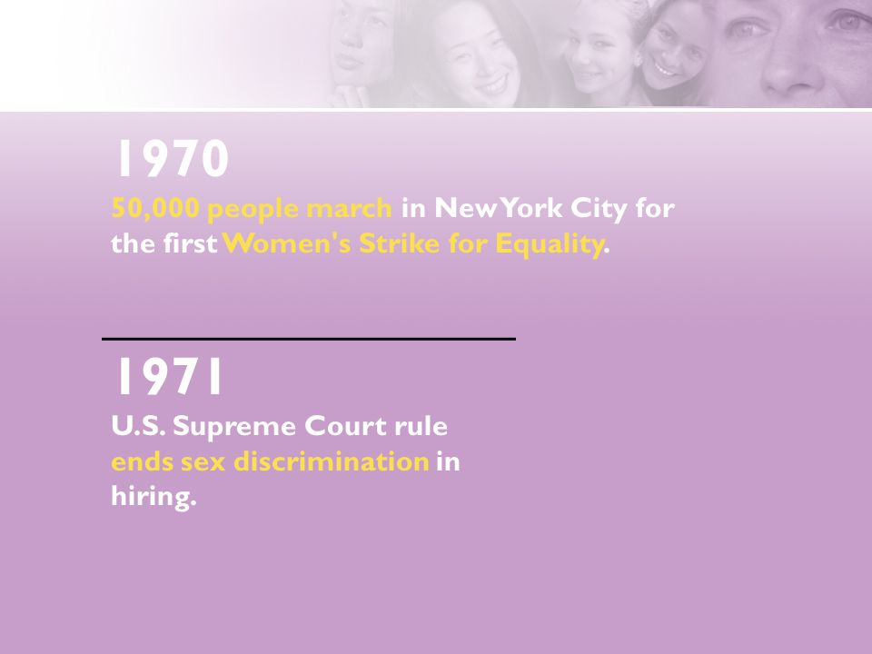 1970 50,000 people march in New York City for the first Women's Strike for Equality. 1971 U.S. Supreme Court rule ends sex discrimination in hiring.