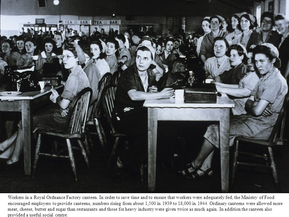 Workers in a Royal Ordnance Factory canteen. In order to save time and to ensure that workers were adequately fed, the Ministry of Food encouraged emp