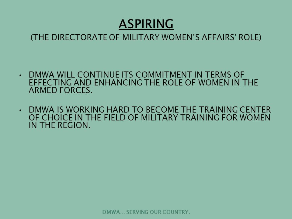 DMWA… SERVING OUR COUNTRY.