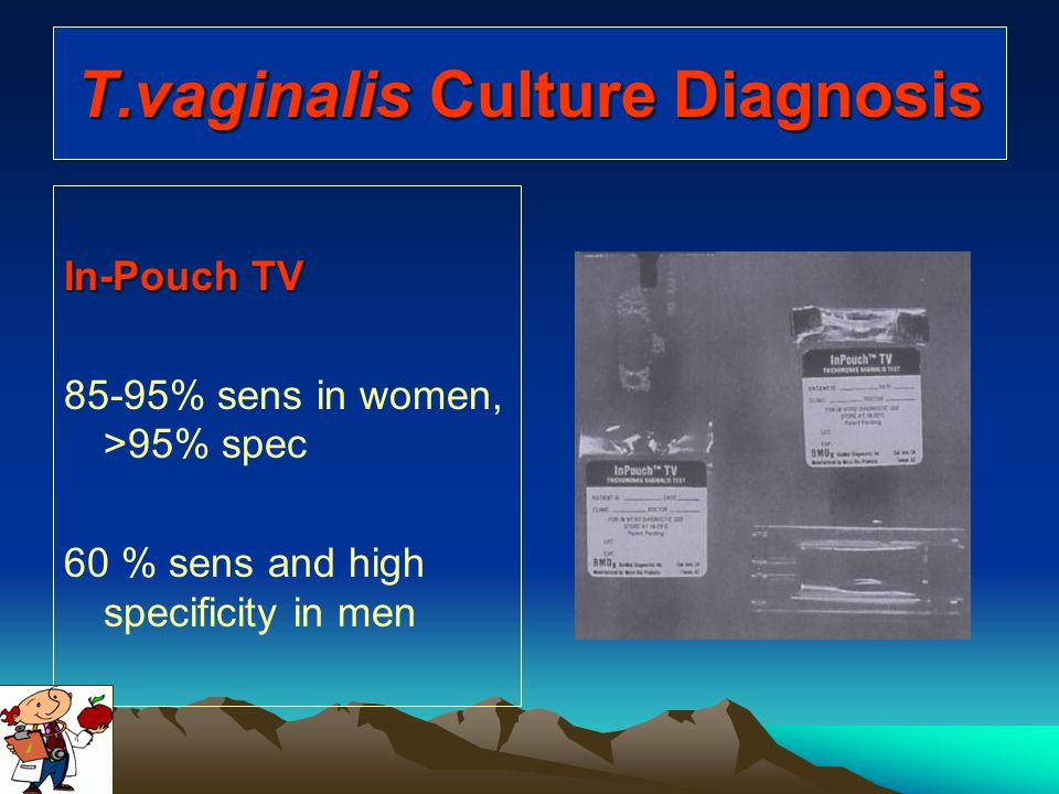 T.vaginalis Culture Diagnosis In-Pouch TV 85-95% sens in women, >95% spec 60 % sens and high specificity in men