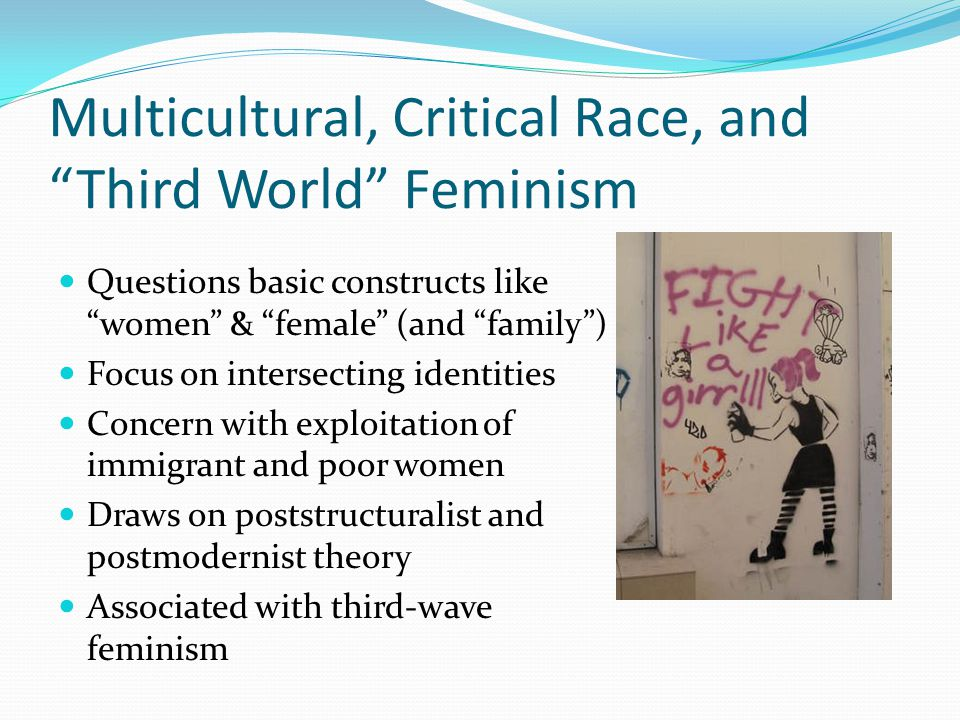 "Multicultural, Critical Race, and ""Third World"" Feminism Questions basic constructs like ""women"" & ""female"" (and ""family"") Focus on intersecting ident"