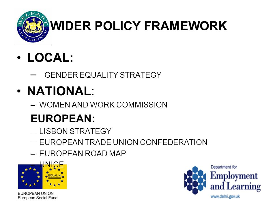 WIDER POLICY FRAMEWORK LOCAL: – GENDER EQUALITY STRATEGY NATIONAL: –WOMEN AND WORK COMMISSION EUROPEAN: –LISBON STRATEGY –EUROPEAN TRADE UNION CONFEDERATION –EUROPEAN ROAD MAP –UNICE