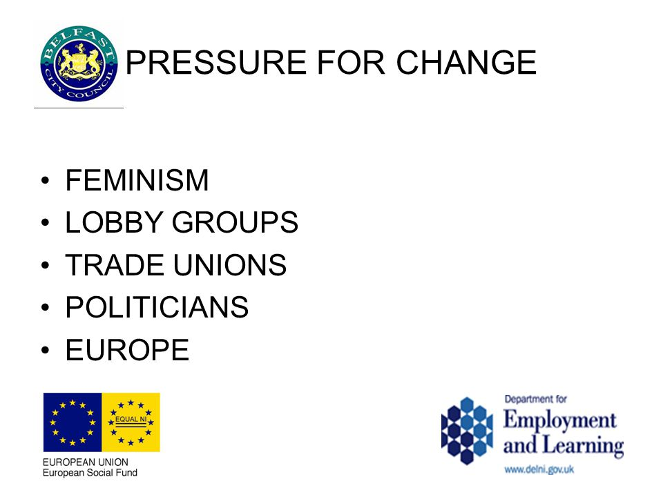 PRESSURE FOR CHANGE FEMINISM LOBBY GROUPS TRADE UNIONS POLITICIANS EUROPE