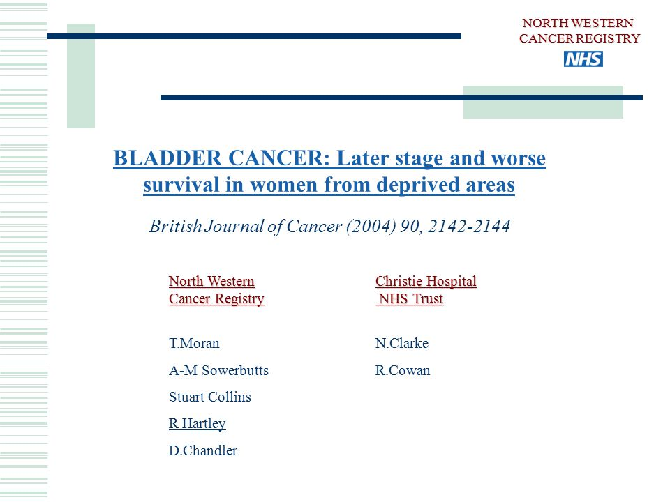 BLADDER CANCER: Later stage and worse survival in women from deprived areas British Journal of Cancer (2004) 90, 2142-2144 North Western Cancer Registry T.Moran A-M Sowerbutts Stuart Collins R Hartley D.Chandler Christie Hospital NHS Trust N.Clarke R.Cowan