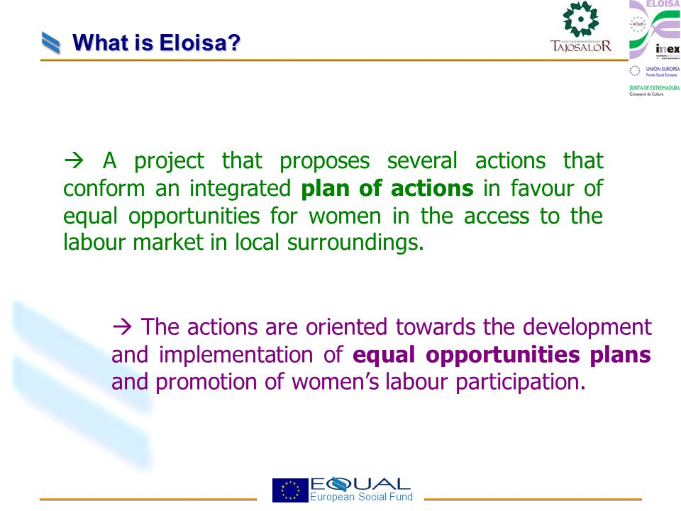 European Social Fund  The actions are oriented towards the development and implementation of equal opportunities plans and promotion of women's labour participation.