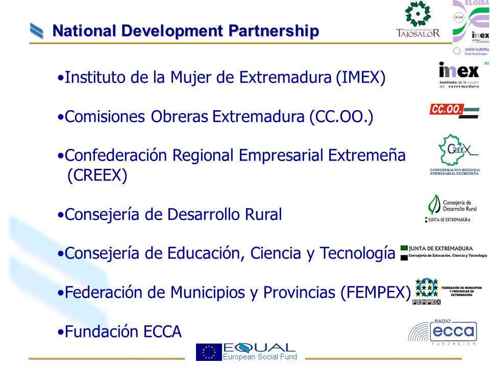 European Social Fund National Development Partnership Instituto de la Mujer de Extremadura (IMEX) Comisiones Obreras Extremadura (CC.OO.) Confederación Regional Empresarial Extremeña (CREEX) Consejería de Desarrollo Rural Consejería de Educación, Ciencia y Tecnología Federación de Municipios y Provincias (FEMPEX) Fundación ECCA