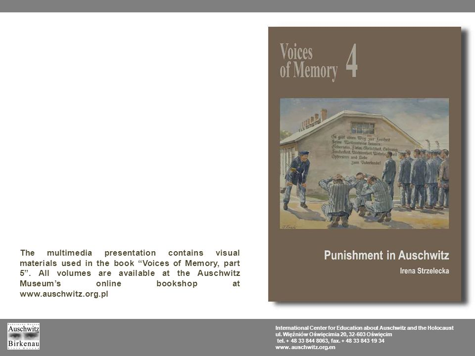 The multimedia presentation contains visual materials used in the book Voices of Memory, part 5 .