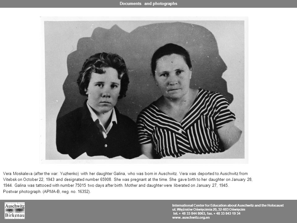 Vera Moskaleva (after the war: Yuzhenko) with her daughter Galina, who was born in Auschwitz.