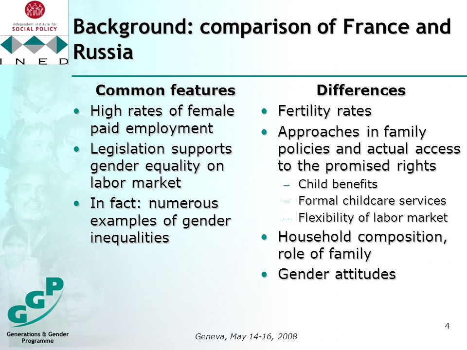 4 logo here 400x400px Geneva, May 14-16, 2008 Background: comparison of France and Russia Common features High rates of female paid employmentHigh rates of female paid employment Legislation supports gender equality on labor marketLegislation supports gender equality on labor market In fact: numerous examples of gender inequalitiesIn fact: numerous examples of gender inequalitiesDifferences Fertility ratesFertility rates Approaches in family policies and actual access to the promised rightsApproaches in family policies and actual access to the promised rights – Child benefits – Formal childcare services – Flexibility of labor market Household composition, role of familyHousehold composition, role of family Gender attitudesGender attitudes