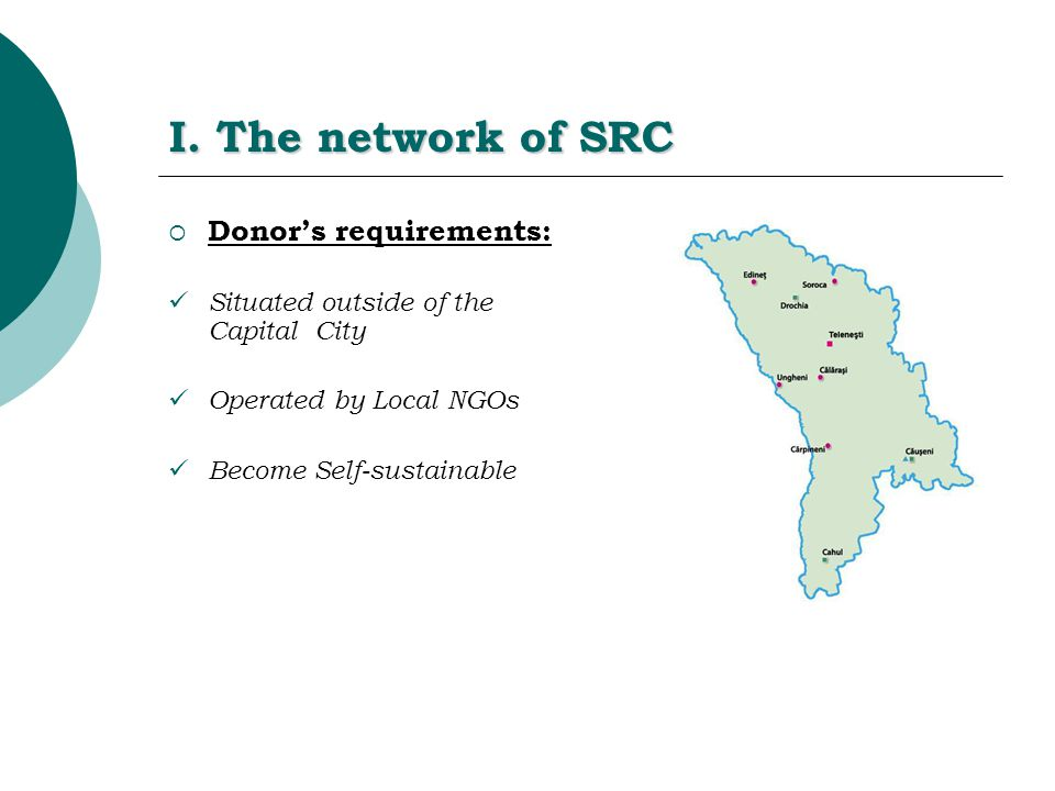 I. The network of SRC  Donor's requirements: Situated outside of the Capital City Operated by Local NGOs Become Self-sustainable
