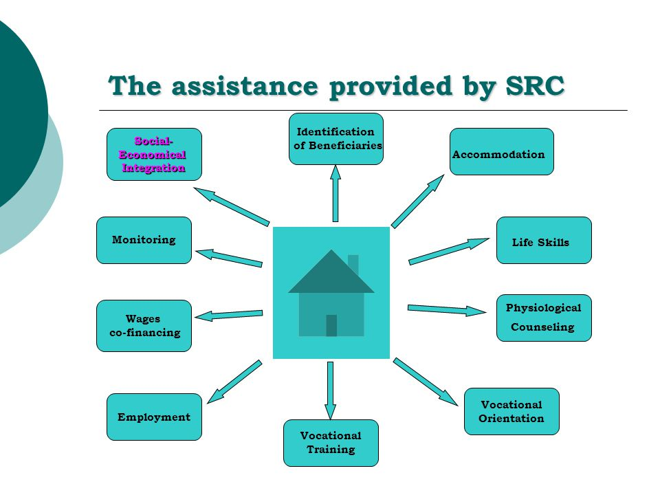 The assistance provided by SRC Physiological Counseling Wages co-financing Social-EconomicalIntegration Life Skills Accommodation Identification of Beneficiaries Vocational Orientation Vocational Training Employment Monitoring