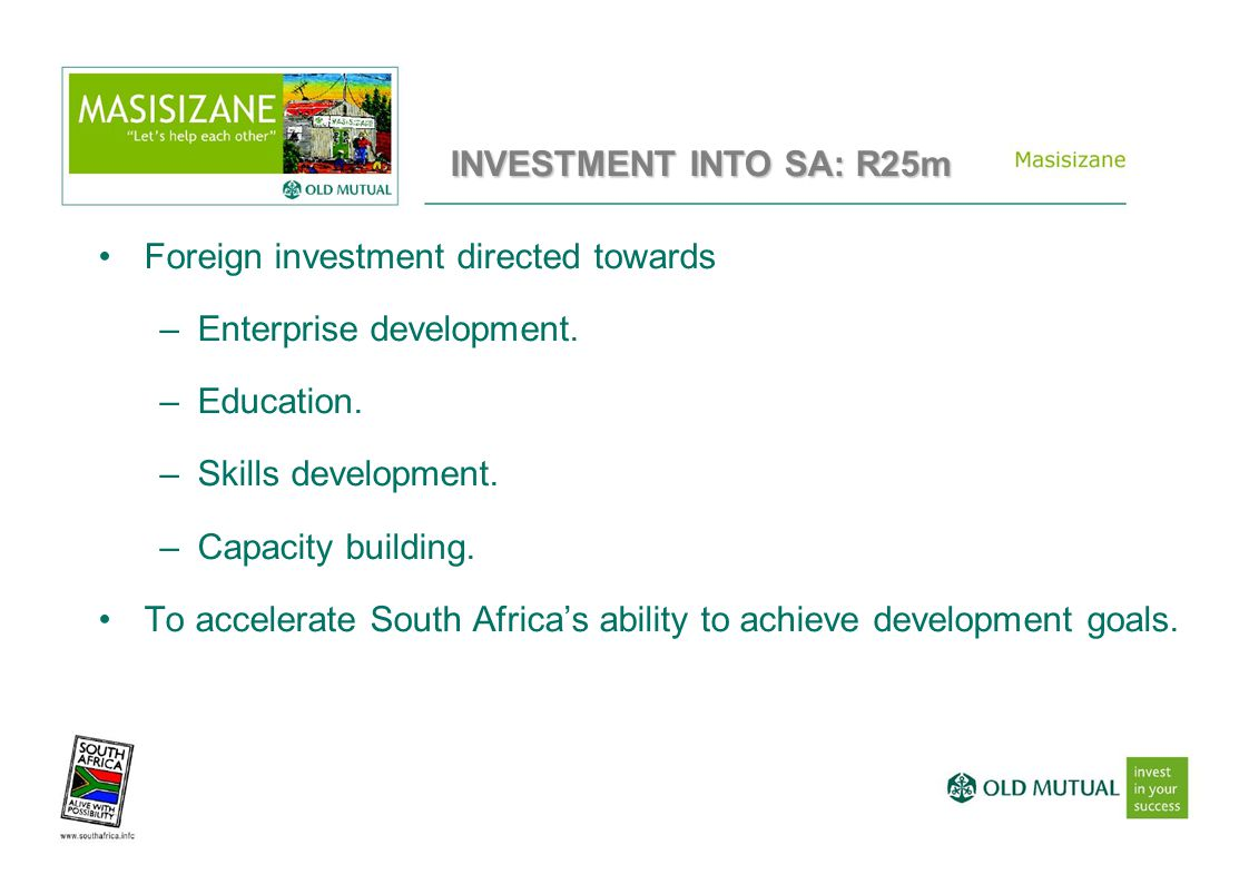 Foreign investment directed towards –Enterprise development.