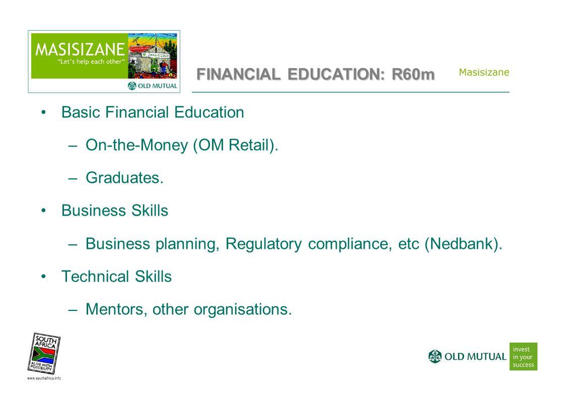 Basic Financial Education –On-the-Money (OM Retail). –Graduates. Business Skills –Business planning, Regulatory compliance, etc (Nedbank). Technical S