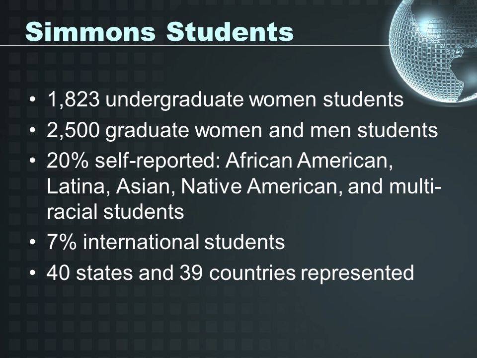 Simmons Students 1,823 undergraduate women students 2,500 graduate women and men students 20% self-reported: African American, Latina, Asian, Native American, and multi- racial students 7% international students 40 states and 39 countries represented