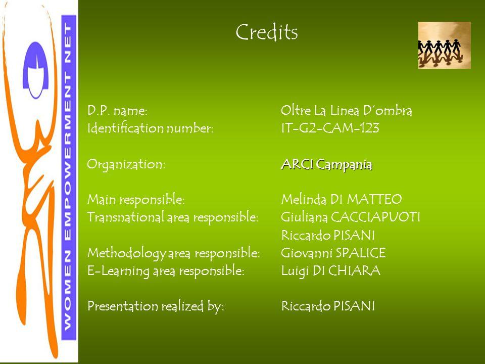 D.P. name:Oltre La Linea D'ombra Identification number:IT-G2-CAM-123 Organization:ARCI Campania Main responsible:Melinda DI MATTEO Transnational area