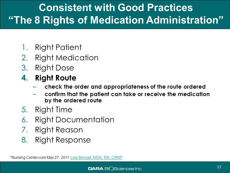 """17 Consistent with Good Practices """"The 8 Rights of Medication Administration"""" 1.Right Patient 2.Right Medication 3.Right Dose 4.Right Route – check th"""