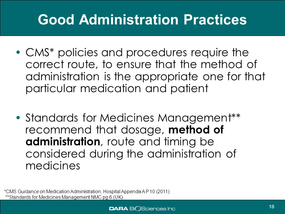 18 Good Administration Practices CMS* policies and procedures require the correct route, to ensure that the method of administration is the appropriat