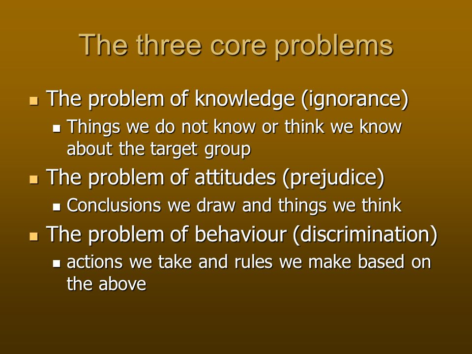 The three core problems The problem of knowledge (ignorance) The problem of knowledge (ignorance) Things we do not know or think we know about the target group Things we do not know or think we know about the target group The problem of attitudes (prejudice) The problem of attitudes (prejudice) Conclusions we draw and things we think Conclusions we draw and things we think The problem of behaviour (discrimination) The problem of behaviour (discrimination) actions we take and rules we make based on the above actions we take and rules we make based on the above