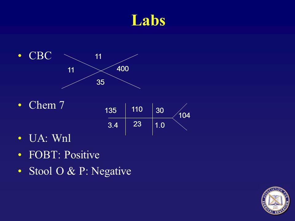Labs CBC Chem 7 UA: Wnl FOBT: Positive Stool O & P: Negative 11 35 400 135 3.4 110 23 30 1.0 104
