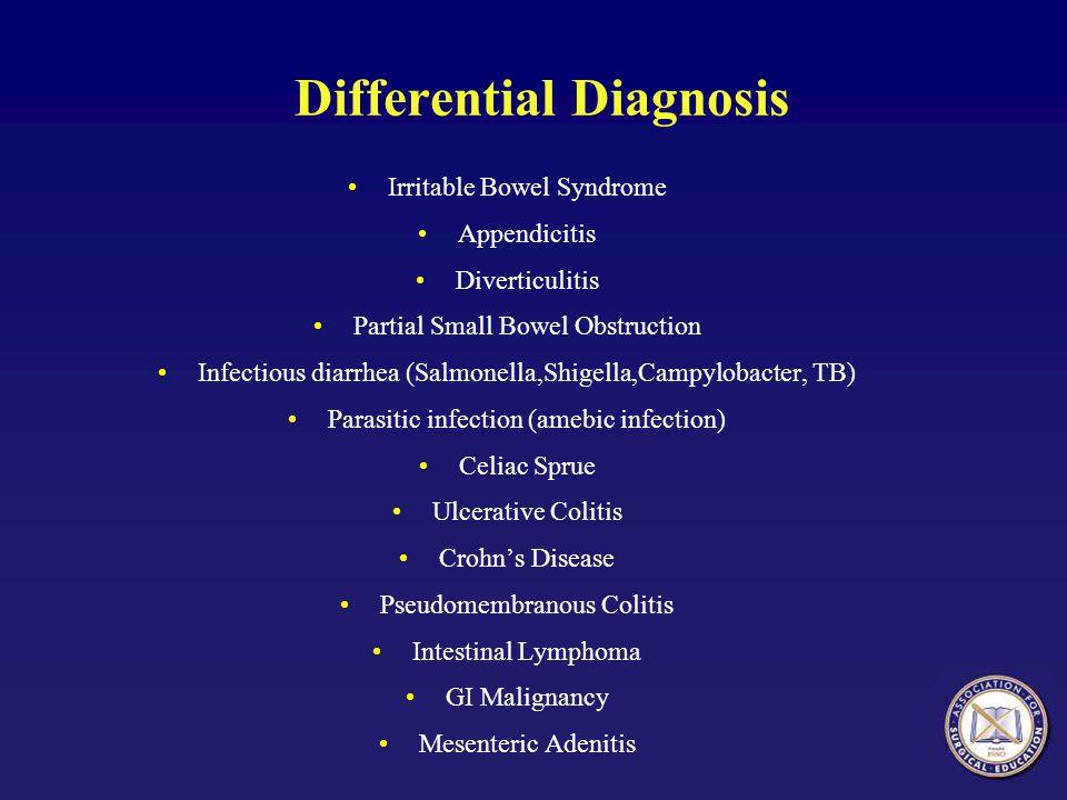 Differential Diagnosis Irritable Bowel Syndrome Appendicitis Diverticulitis Partial Small Bowel Obstruction Infectious diarrhea (Salmonella,Shigella,C