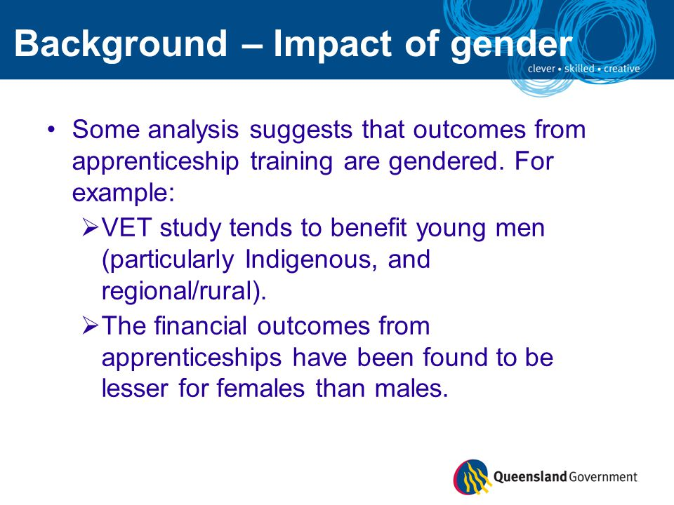 Some analysis suggests that outcomes from apprenticeship training are gendered.