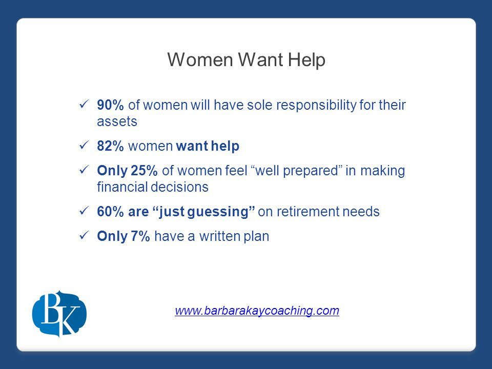 Women Want Help 90% of women will have sole responsibility for their assets 82% women want help Only 25% of women feel well prepared in making financial decisions 60% are just guessing on retirement needs Only 7% have a written plan www.barbarakaycoaching.com