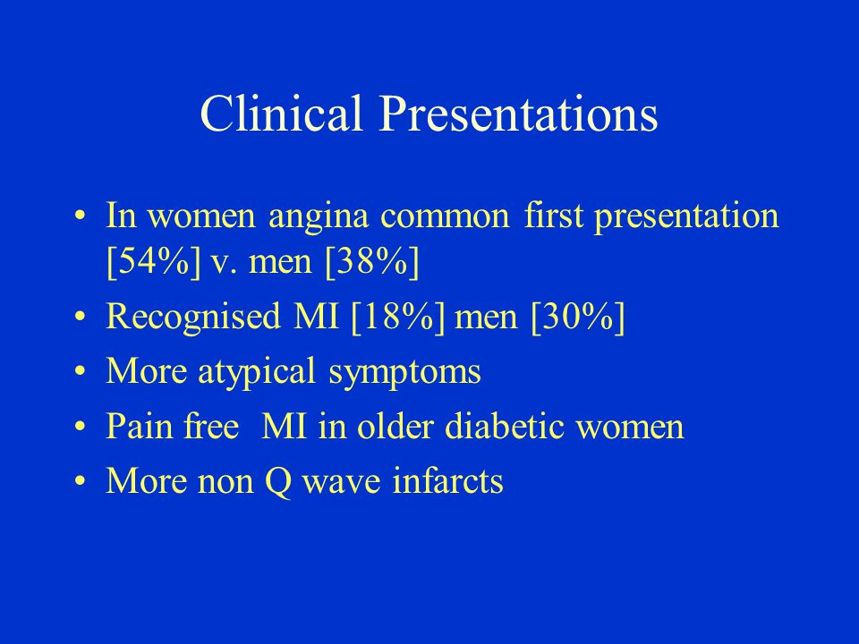 Clinical Presentations In women angina common first presentation [54%] v. men [38%] Recognised MI [18%] men [30%] More atypical symptoms Pain free MI