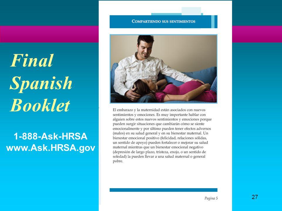 27 Final Spanish Booklet 1-888-Ask-HRSA www.Ask.HRSA.gov