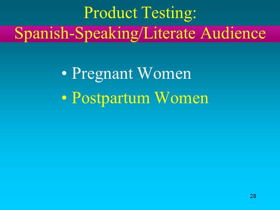 28 Product Testing: Spanish-Speaking/Literate Audience Pregnant Women Postpartum Women