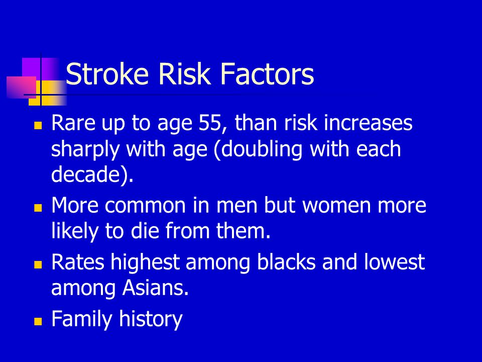 Stroke Risk Factors Rare up to age 55, than risk increases sharply with age (doubling with each decade). More common in men but women more likely to d