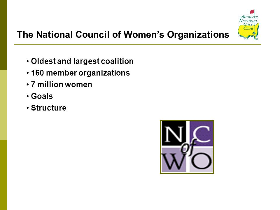 The National Council of Women's Organizations Oldest and largest coalition 160 member organizations 7 million women Goals Structure