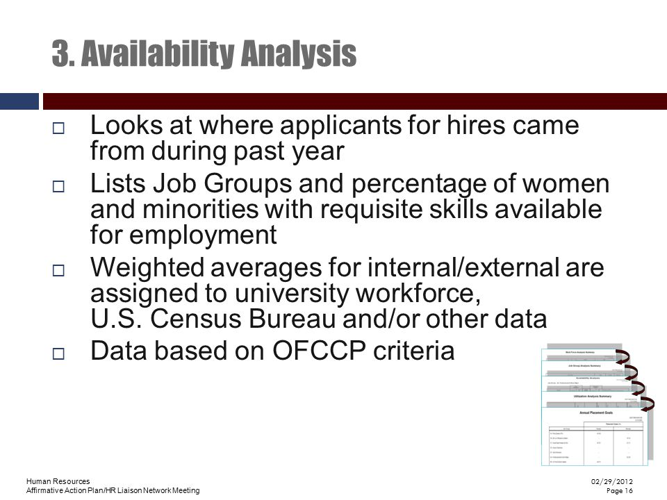 Human Resources Affirmative Action Plan/HR Liaison Network Meeting 02/29/2012 Page 16 3. Availability Analysis  Looks at where applicants for hires c