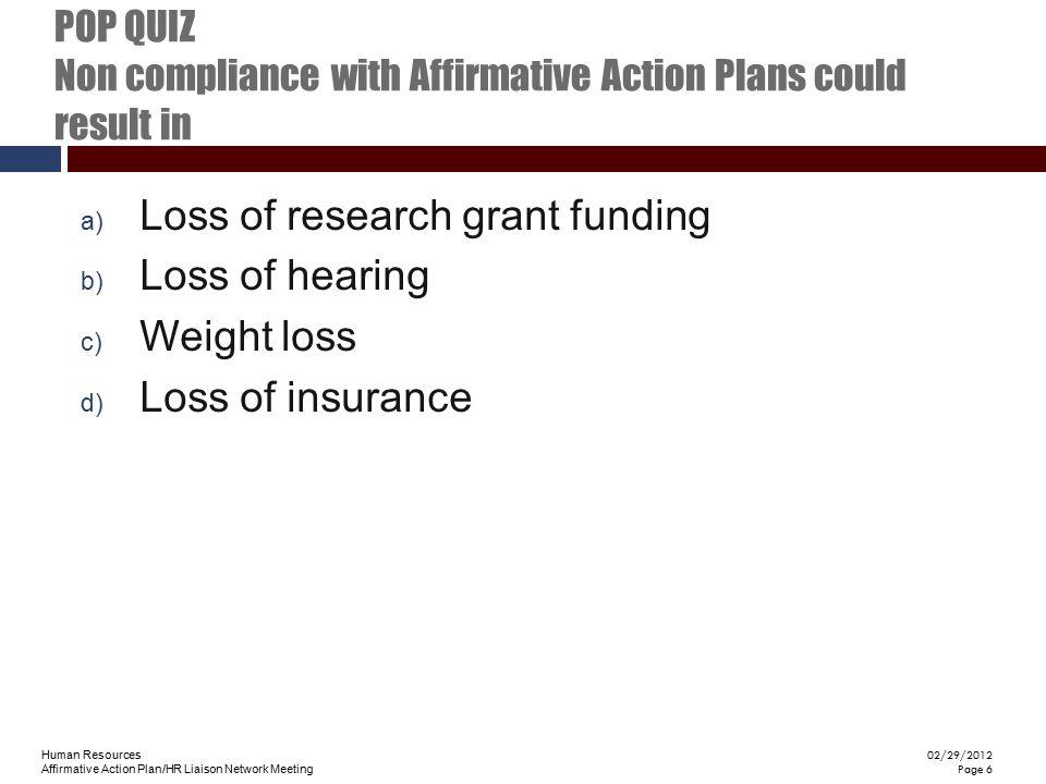 Human Resources Affirmative Action Plan/HR Liaison Network Meeting 02/29/2012 Page 6 POP QUIZ Non compliance with Affirmative Action Plans could resul