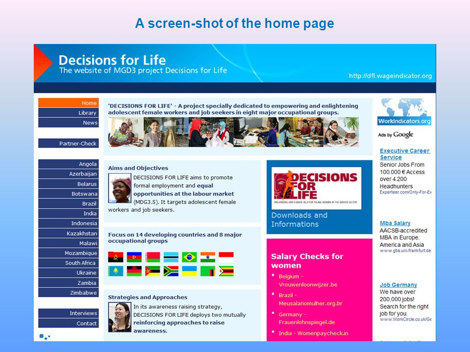 A screen-shot of the home page