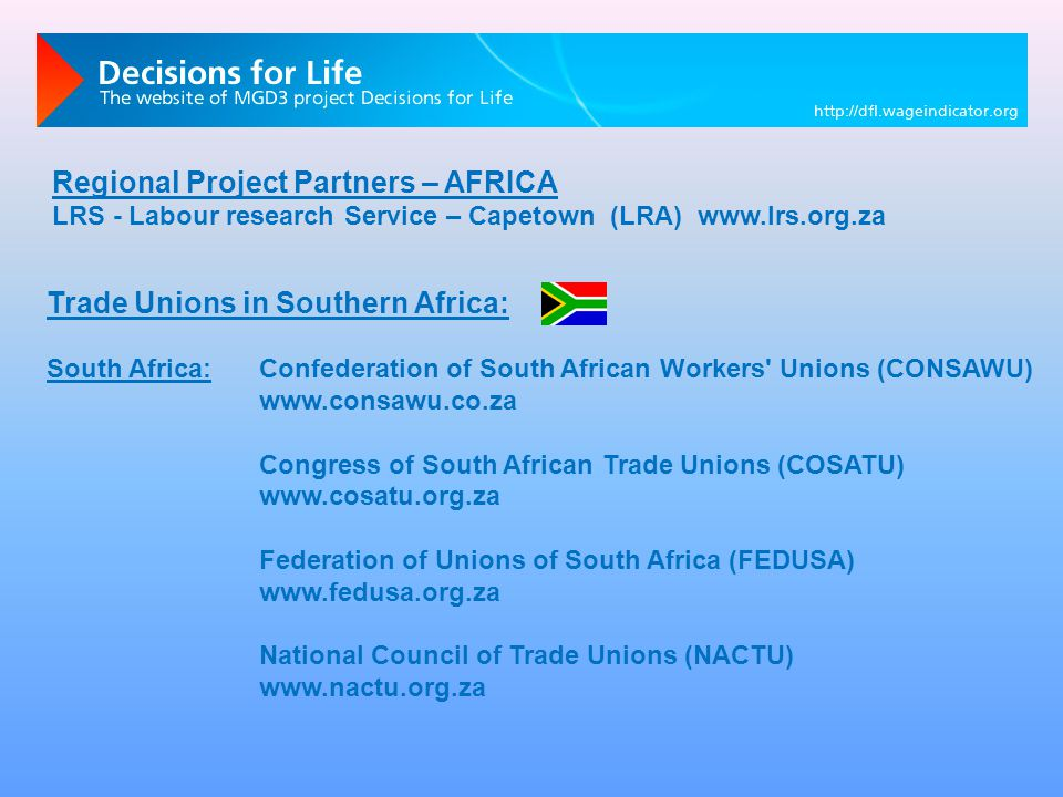 Trade Unions in Southern Africa: South Africa:Confederation of South African Workers Unions (CONSAWU) www.consawu.co.za Congress of South African Trade Unions (COSATU) www.cosatu.org.za Federation of Unions of South Africa (FEDUSA) www.fedusa.org.za National Council of Trade Unions (NACTU) www.nactu.org.za Regional Project Partners – AFRICA LRS - Labour research Service – Capetown (LRA) www.lrs.org.za