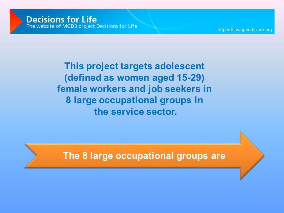 The 8 large occupational groups are This project targets adolescent (defined as women aged 15-29) female workers and job seekers in 8 large occupational groups in the service sector.
