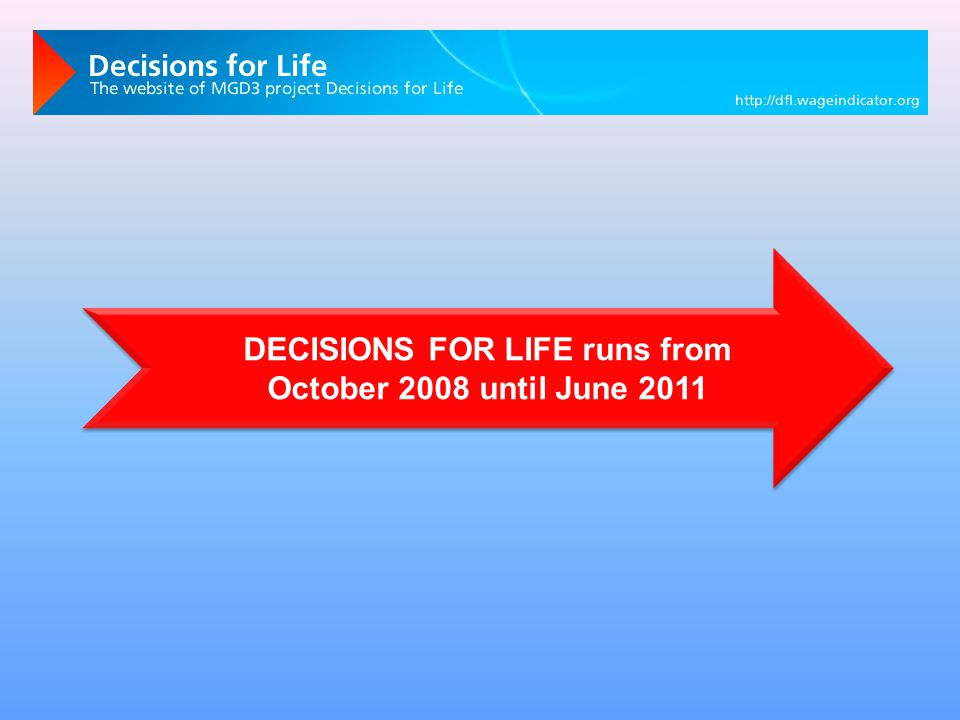 DECISIONS FOR LIFE runs from October 2008 until June 2011 DECISIONS FOR LIFE runs from October 2008 until June 2011
