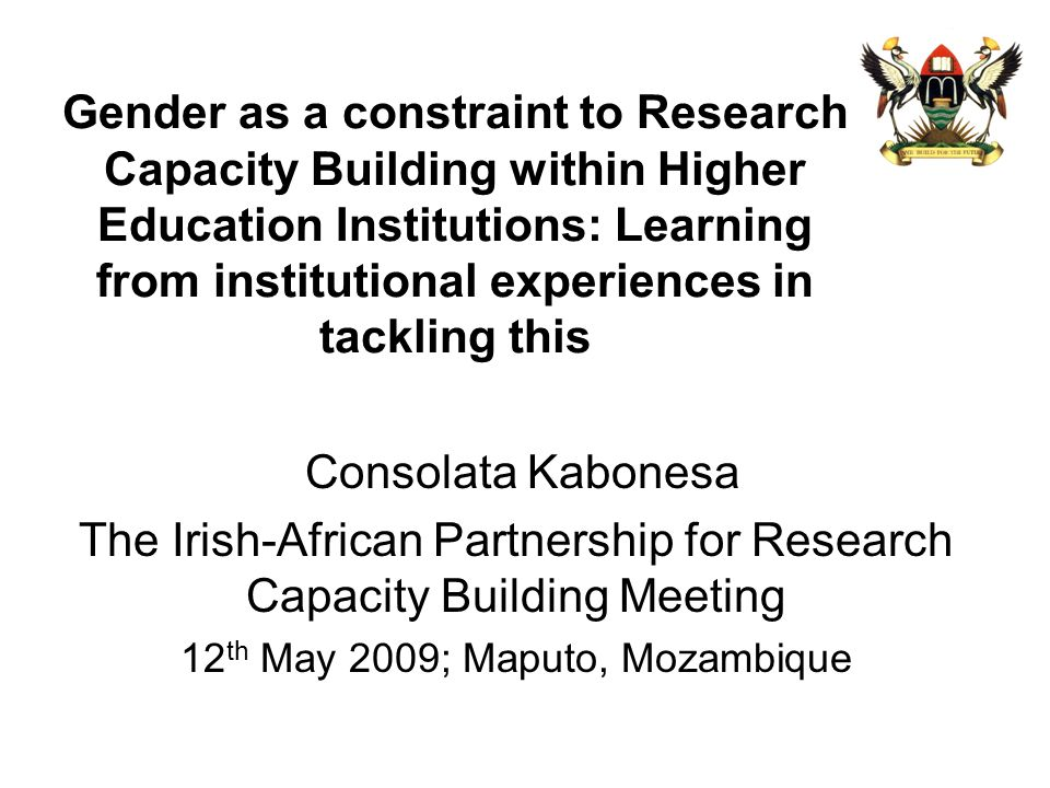 Gender as a constraint to Research Capacity Building within Higher Education Institutions: Learning from institutional experiences in tackling this Co