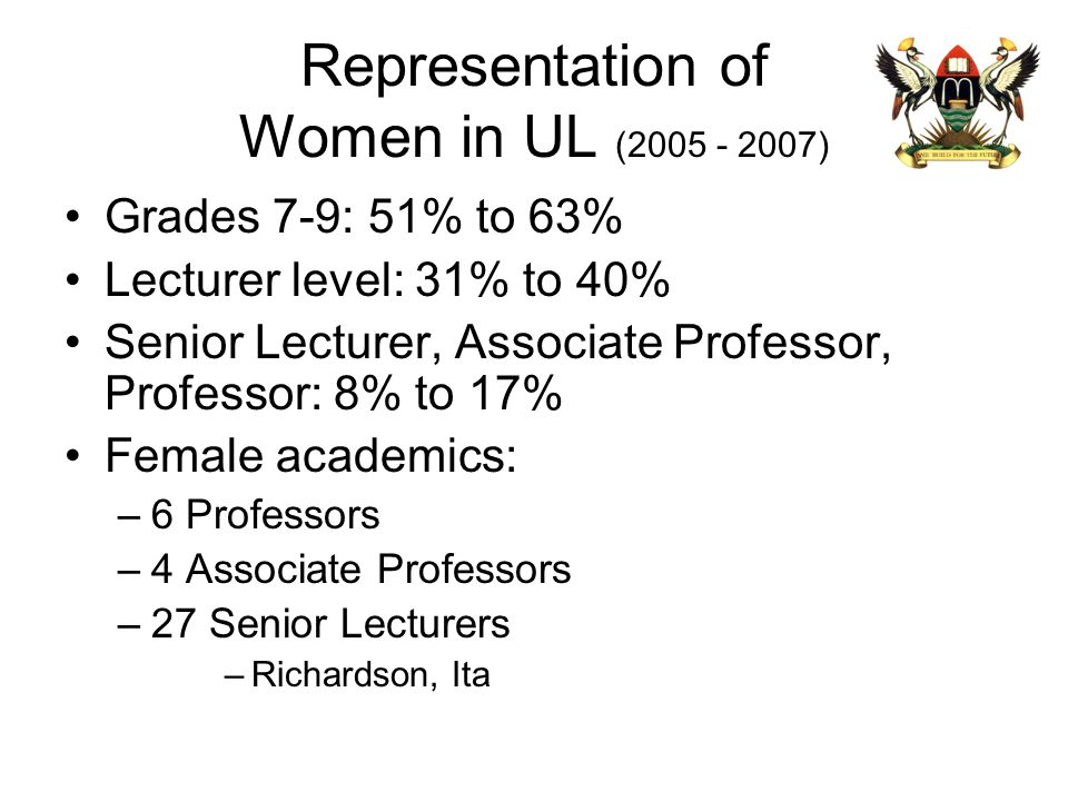 Representation of Women in UL (2005 - 2007) Grades 7-9: 51% to 63% Lecturer level: 31% to 40% Senior Lecturer, Associate Professor, Professor: 8% to 1