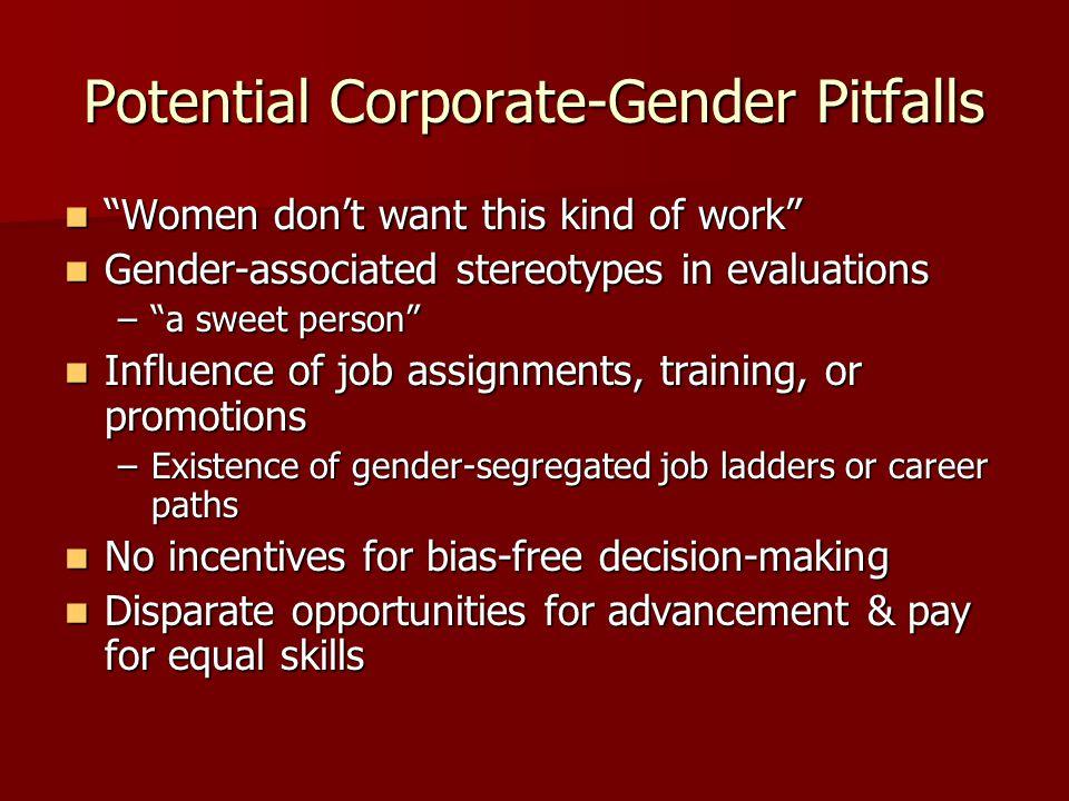 "Potential Corporate-Gender Pitfalls ""Women don't want this kind of work"" ""Women don't want this kind of work"" Gender-associated stereotypes in evaluat"