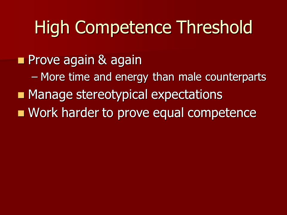 High Competence Threshold Prove again & again Prove again & again –More time and energy than male counterparts Manage stereotypical expectations Manag