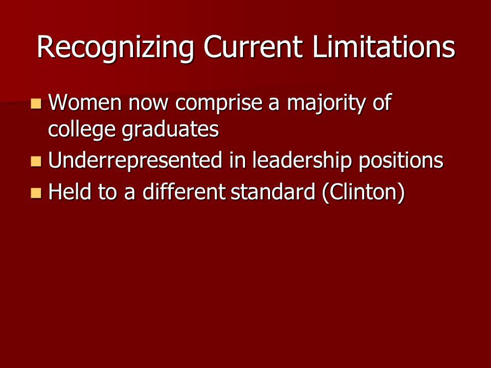 Recognizing Current Limitations Women now comprise a majority of college graduates Women now comprise a majority of college graduates Underrepresented